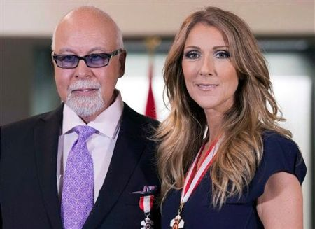 Celine Dion poses a picture with her deceased husband Rene Angelil.