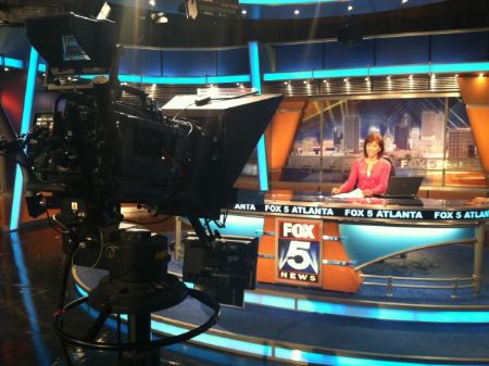 Denise Dillon in the studio of Fox 5.