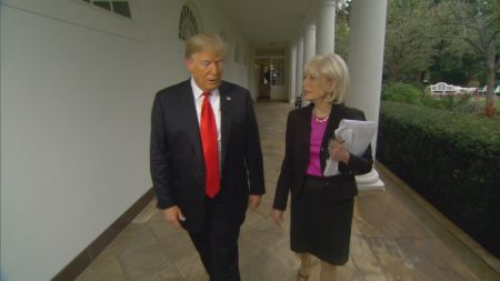 Lesley Stahl with Donald Trump interviewing