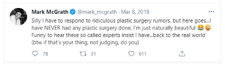 Mark McGrath denied he  got plastic surgery in Twitter